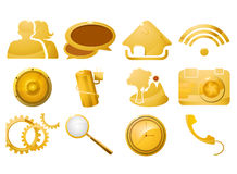 Gold icon set Royalty Free Stock Images