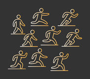 Gold icon set of runners Royalty Free Stock Images