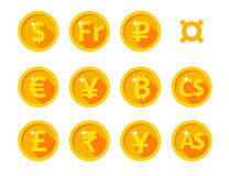 Gold icons of the world currency Royalty Free Stock Image