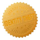 Gold IDENTITY THEFT Badge Stamp. IDENTITY THEFT gold stamp seal. Vector gold medal with IDENTITY THEFT text. Text labels are placed between parallel lines and on vector illustration