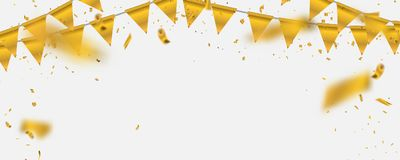 Gold  illustration Confetti and flag ribbons, Celebration background. Template with Stock Images