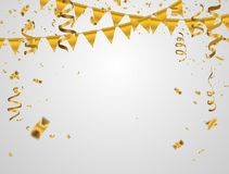 Gold  illustration Confetti and flag ribbons, Celebration background. Template with Stock Photo