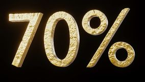 Gold 70% illustration. Gold 70% 3d illustration Royalty Free Stock Image