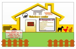 Gold illustration of a Veterinary center for animal royalty free illustration