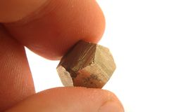 Gold In My Fingers (pyrite Mineral) Stock Photography