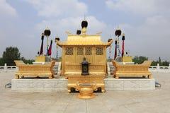 Gold incense burner on sacrificial altar of genghis khan mausoleum, adobe rgb. Golden incense burner on sacrificial altar of genghis khan mausoleum at ordos city royalty free stock photos