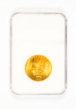Gold Indian Head Dollar in Case Royalty Free Stock Images