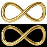Gold infinity loop on white and black background. Gold infinity loop isolated on white and black background. Golden Mobius loop sign. 3D rendering royalty free illustration