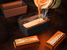 Gold ingot casting. Illustration of a goldsmith casting gold into ingot moulds stock images
