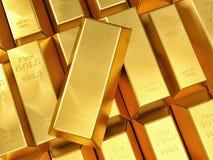 Gold ingot. 3d imeage of fine gold ingot Royalty Free Stock Image