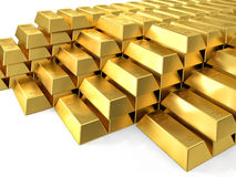 Gold ingot. 3d imeage of fine gold ingot stock images