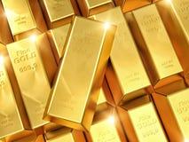 Gold ingot. 3d imeage of fine gold ingot Stock Photo