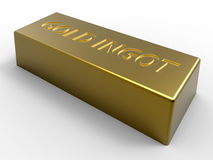 Gold ingot. 3D rendered illustration of a gold ingot isolated on a white background with soft shadows Stock Photos