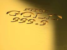 Gold ingot detail. 3d image Stock Photo