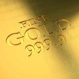 Gold ingot detail. 3d image Royalty Free Stock Photo