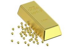 Gold ingot and granules Stock Photo
