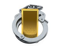 Gold ingot inside handcuffs. Isolated on white background. 3d illustration Royalty Free Stock Photo