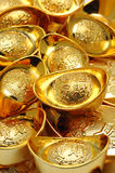 Gold ingot ornaments. Close up of chinese gold ingot ornaments royalty free stock photos