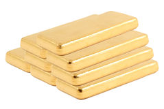 Gold ingot. Real photo. Gold ingot on a white background. Real photo stock image