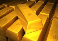 Gold ingots. 3d image close up of a lot of bar of gold Royalty Free Stock Images