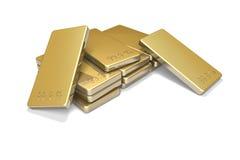 Gold Ingots 2. Lovely gold ingots on white Stock Photography