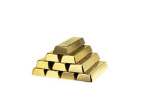 Gold ingots. Close up, isolated over white Stock Photos