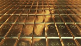 Gold ingots animation abstract background for finance 4K stock video