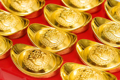 gold ingots and Blessing word. Royalty Free Stock Image