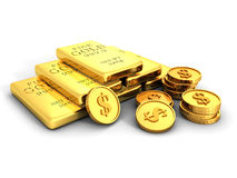 Gold Ingots Or Bullions And Stacks Of Golden Dollar Coins Stock Photo