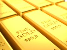 Gold ingots close-up Royalty Free Stock Images