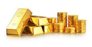 Gold ingots and coins royalty free illustration