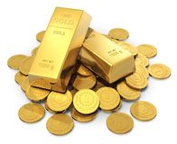 Gold ingots and coins. Creative business, finance, banking, stock exchange market trading and wealth concept: heap of golden ingots or bullions and gold money Stock Photo