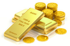 Gold ingots and coins, 3D rendering Stock Photos