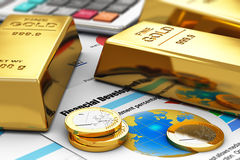 Gold ingots and coins on financial reports. Business banking and financial success concept: gold ingots, coins and office calculator on colorful financial report Royalty Free Stock Photos