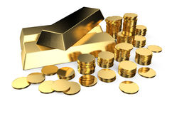 Gold ingots and coins Royalty Free Stock Image