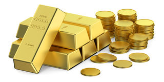Gold ingots and coins Stock Photography