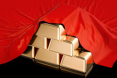 Gold ingots covered red cloth, 3D rendering Stock Images