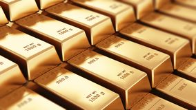Gold ingots. Creative abstract banking, financial success development, growth and profit investment concept: 3D rendered 4K video of the macro view of stacks and stock video