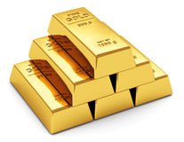 Gold ingots. Creative abstract business success, financial growth, banking, accounting and stock exchange trade market corporate concept: stack of shiny gold Stock Photo