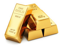 Gold ingots. Creative abstract business success, financial growth, banking, accounting and stock exchange trade market corporate concept: stack of shiny gold Royalty Free Stock Photo