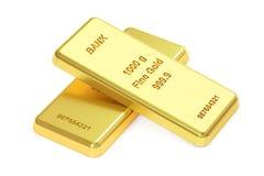 Gold ingots, 3D rendering Royalty Free Stock Photos