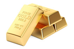 Gold ingots, 3D rendering Stock Photos