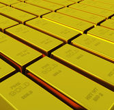 Gold ingots with depth of field.  Royalty Free Stock Image