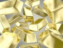 Gold ingots. Illustration of a many ingots of fine gold Royalty Free Stock Images