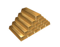 Gold ingots isolated Stock Photo