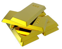 Gold ingots isolated on white. Royalty Free Stock Photography