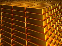 Gold ingots. Macro view of stacks and rows of gold ingots Royalty Free Stock Images