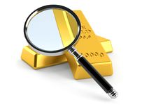 Gold ingots with magnifying glass. On white background Stock Image