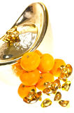 Gold ingots and mandarin oranges Royalty Free Stock Photo