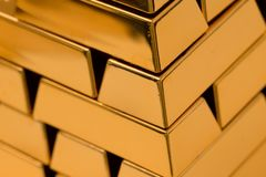 Gold Ingots Pile Pyramide. Huge pile out of gold ingots creating a pyramid kind of shape Royalty Free Stock Photography